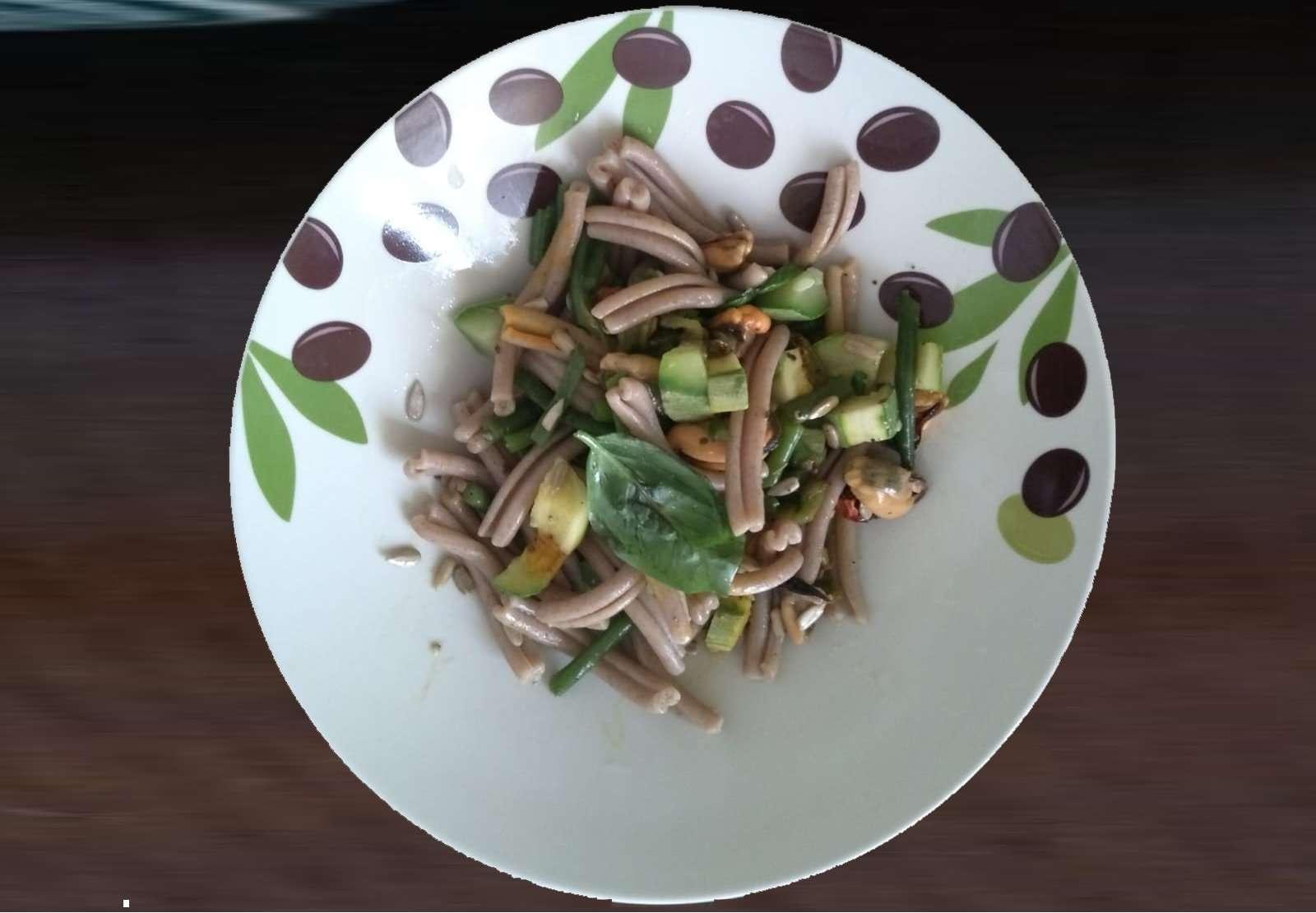 Strozzaprete integrale cozze zucchine e fagiolini